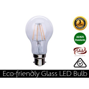 4W Eco-friendly LED Glass Bulb B22 Warm White 400LM (3 Year Warranty)