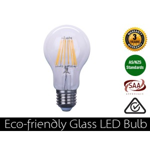 8W Eco-friendly LED Glass Bulb E27 Warm White 800LM (3 Year Warranty)