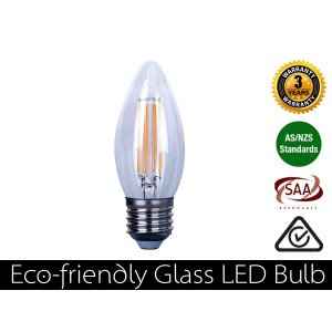 4W Eco-friendly LED Glass Candle E27 Warm White 360LM (3 Year Warranty)
