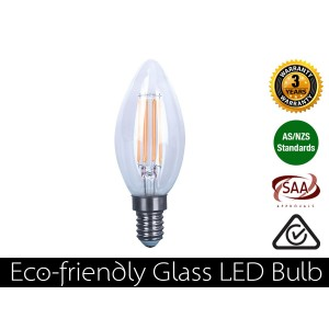 4W Eco-friendly Glass LED Candle - E14 Warm White 360LM (3 Year Warranty)