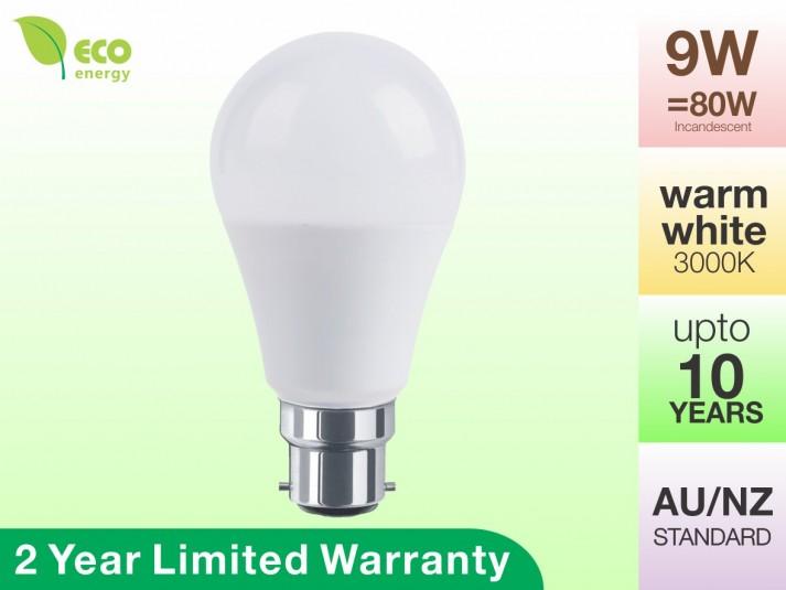 LED Light Bulb B22 9W 806lm Warm White 2 Year Warranty