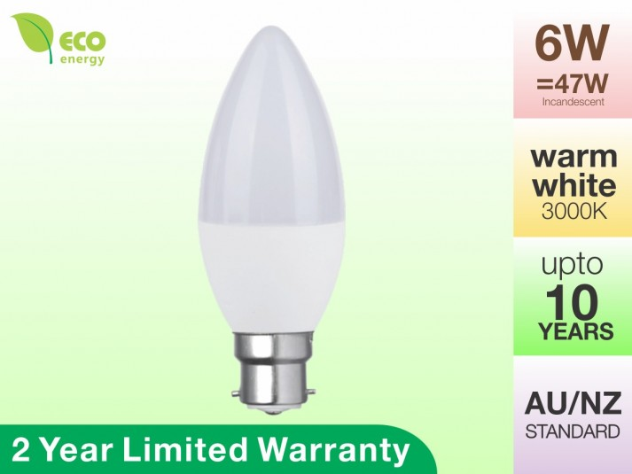 LED Candle Bulb B22 6W 470lm Warm White 2 Year Warranty