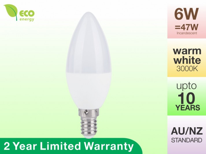 LED Candle Bulb E14 6W 470lm Warm White 2 Year Warranty